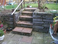 Steps and Slate Block Retaining Wall